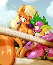 2015 _hi_res anthro anthrofied applejack_(mlp) blush breasts clothing dragon duo earth_pony equine female fence freckles friendship_is_magic frist44 fur green_eyes hair hat hi_res horse long_hair male male/female mammal my_little_pony nipples orange_fur outside penis pink_hair pony scalie spike_(mlp) sweat