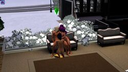 blowjob couch kissing pink_hair the_sims the_sims_3 threesome ts3_gallery