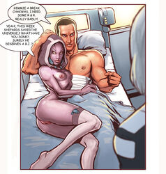 after_sex alien artist_request bed comic commander_shepard doctor_chakwas human invalid_tag mammal mass_effect nude pussy quarian tali'zorah_nar_rayya text video_games wounded