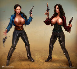 2girls black_hair boots breasts corset cross dual_wielding female gun large_breasts long_hair nipples open_mouth open_shirt pirate ponytail pussy_juice revolver shirt standing thigh_boots vincentcc weapon wet
