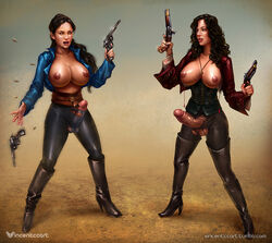 belt black_hair boots breasts corset cross dickgirl dual_wielding erection futa_with_futa futanari gun large_breasts large_penis long_hair nipples open_mouth open_shirt penis pirate ponytail revolver shirt standing testicles thigh_boots torn_clothes veiny_penis vincentcc weapon