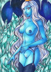 adventure_time blue_skin breasts cave crown female forunth garter_belt garter_straps ice ice_queen long_eyebrows long_hair looking_at_viewer navel pubic_hair pussy silver_eyes smile solo thighhighs traditional_media very_long_hair white_hair