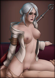 breasts ciri cowgirl_position female large_breasts male navel nipples open_mouth open_shirt penis pussy scar sex shirt sword the_witcher the_witcher_3 vaginal_penetration weapon white_hair wickedj yellow_eyes