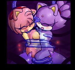 2015 2girls amy_rose anthro black_nose blaze_the_cat blush bound breasts closed_eyes feline female fur hair heart hedgehog mammal nipples nude open_mouth pedrovin penetration pink_fur pink_hair purple_fur purple_hair saliva saliva_string sega solo sonic_(series) tentacle tentacle_sex vaginal vaginal_penetration white_fur yellow_fur yuri