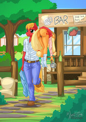 2015 anthro anthrofied applejack_(mlp) ass big_macintosh_(mlp) blonde_hair bottle bottomless brother brother_and_sister carrying clothed clothing cutie_mark duo earth_pony english_text equine female fence friendship_is_magic glass hair half-dressed holding horse incest long_hair male male/female mammal my_little_pony mysticalpha outside plant pony pussy sibling sister smile socks text tree window