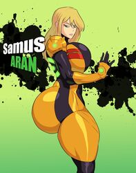 5ifty armor beige_skin blonde_hair blue_eyes breasts clothed clothing color curvy dat_ass female female_only gigantic_ass hair huge_ass huge_breasts human jay-marvel long_gloves metroid nintendo power_suit samus_aran side_view solo thick_thighs thigh_clothes thighhighs varia_suit