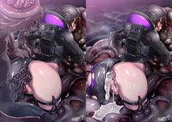 after_anal after_sex ahe_gao all_fours anal anus ass bodysuit brown_hair capcom cum cum_in_ass cum_pool cumdrip dissolving_clothes eroquis eyeshadow female from_behind fucked_silly gaping helmet highres human interspecies jessica_sherawat leotard leotard_aside lips lipstick long_hair looking_back makeup monster pussy rape resident_evil resident_evil_revelations rolling_eyes skin_tight skindentation slime spiked_penis stuck torn_clothes uncensored