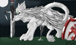 anthro anus ass avian balls beak chest_tuft claws cum digitigrade dripping erection feathered_wings feathers fur glowing glowing_eyes grass green_eyes grey_feathers gryphon hindpaw looking_at_viewer male moon night nude paws penis presenting presenting_hindquarters shield smile solo spots star sword talons toe_claws tuft velrizoth weapon white_feathers white_fur wings