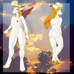angel anthro blonde_hair braided_hair breasts dragon female hair halo invalid_color looking_at_viewer nipples pawpads popesslodovica pussy reptile scalie standing