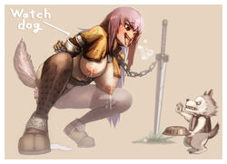 anal_beads areolae arms_behind_back blush bondage bondage bowl breasts canine collar female houjicha lactation large_breasts leash long_hair nipples open_mouth pet_bowl purple_hair pussy_juice pussy_juice_puddle ragnarok_online saliva solo sword tongue tongue_out weapon