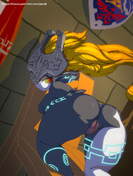 ass bent_over blonde_hair fangs female helmet imp_midna jacqli kneeling large_ass long_hair looking_back midna neon_trim nintendo nude pointy_ears pussy red_eyes solo the_legend_of_zelda twilight_princess two-tone_skin yellow_sclera