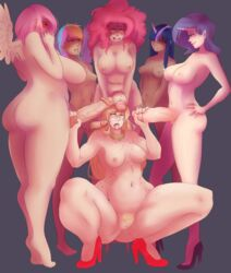 applejack_(mlp) ass barefoot blonde_hair blue_eyes blush breasts closed_eyes collar dark_skin drool female fluttershy_(mlp) freckles friendship_is_magic futa_on_female futanari gangbang green_eyes grey_background group_sex hand_on_hip handjob high_heels horn huge_ass human humanized intersex large_breasts long_hair multicolored_hair multiple_intersex my_little_pony nipples nude open_mouth penis penis_grab personification pink_eyes pink_hair pinkie_pie_(mlp) pubic_hair purple_hair pussy rainbow_dash_(mlp) rarity_(mlp) rolling_eyes sideboob simple_background squatting standing sunnysundown thick_thighs tongue tongue_out twilight_sparkle_(mlp) veiny_penis wide_hips wings