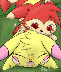 2015 all_fours anal anal_sex bite blush closed_eyes doggy_style duo fangs female ferret forest from_behind furret heart male male/female mammal milachu milachu92 mustelid nintendo open_mouth penetration pikachu pokemon red_eyes sex teeth tree video_games
