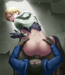 all_fours ass back backboob blonde_hair blue_eyes blush boots breasts censored clothed_sex deep_rising doggy_style female gloves hands_on_hips highres large_breasts legs looking_back mosaic_censoring no_bra no_panties open_mouth penis rape resident_evil resident_evil_6 sex sherry_birkin short_hair spread_legs tears thighs torn_clothes vaginal_penetration zombie