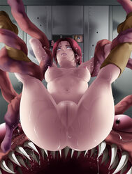 2girls anus areolae arm_grab armpits arms_up ass blonde_hair blue_eyes blush boots breasts brown_hair censored claire_redfield deep_rising door feet fingerless_gloves from_behind highres large_breasts legs legs_up long_hair looking_up lying monster mosaic_censoring multiple_girls navel nipples nude open_mouth ponytail pussy rape resident_evil resident_evil_2 sherry_birkin sweat tears tentacle thighs watching
