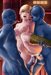 anal areolae arms_behind_back blonde_hair blue_eyes blush boots breasts censored cum cum_in_ass cum_in_pussy cum_on_breasts cum_on_hair cum_on_lower_body cum_on_upper_body deep_rising double_penetration facial female highres inflation large_breasts leg_up legs mosaic_censoring navel nipples nude open_mouth penis pussy rape resident_evil resident_evil_6 sex sherry_birkin short_hair standing stomach_bulge sweat tears thighs tongue vaginal_penetration zombie