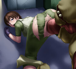 anus ass blue_eyes brown_hair censored deep_rising female gloves highres legs looking_back monster mosaic_censoring no_panties open_mouth penis pussy rape rebecca_chambers resident_evil sex short_hair solo_focus thighs top-down_bottom-up torn_clothes vaginal_penetration