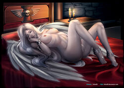 angel anklet armlet bed bracelet breasts closed_eyes felox08 female long_hair lying masturbation nipples nude open_mouth pussy_juice solo warhammer_40k white_hair wings