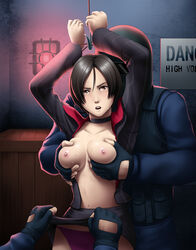 ada_wong areolae arms_up black_hair blush box breast_grab breasts brown_eyes choker deep_rising female fingerless_gloves highres large_breasts looking_at_viewer navel nipples no_bra open_clothes open_mouth panties rape resident_evil resident_evil_6 short_hair skirt skirt_lift standing sweat tears tied_up underwear