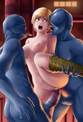 anal areolae arms_behind_back blonde_hair blue_eyes blush boots breasts censored deep_rising double_penetration female highres large_breasts leg_up legs mosaic_censoring navel nipples nude open_mouth penis pussy rape resident_evil resident_evil_6 sex sherry_birkin short_hair standing sweat thighs tongue vaginal_penetration zombie