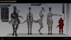 ambiguous_gender anthro armor breasts claws clothed clothing delta.dynamics digitigrade dragon female gun horn human larger_female mammal model_sheet nude pussy ranged_weapon rifle size_difference skimpy solo sword weapon wide_hips