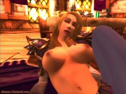 blonde_hair cape cleavage jaina_proudmoore mage midriff no_bra strapless warcraft