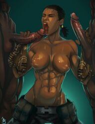 2boys abs andava belt big_breasts black_hair blowbang breasts clothed_female_nude_male dark-skinned_female dark-skinned_male dark_penis dark_skin double_handjob eyes_closed fingerless_gloves gauntlets handjob highres huge_cock jacqui_briggs kneeling long_penis mortal_kombat mortal_kombat_x muscle muscular_female netherrealm_studios oil open_mouth penis ponytail satchel sex shiny shiny_skin simple_background standing testicles threesome tongue tongue_out topless