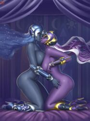 2girls ass asymmetrical_docking blue_eyes blue_hair blue_skin boots breasts french_kiss helmet large_breasts luna_(my_little_pony) lvl_(sentrythe2310) multiple_girls my_little_pony my_little_pony_friendship_is_magic nightmare_moon nightmare_rarity nude oerba_yun_fang personification purple_hair purple_skin rarity_(mlp) sentrythesentry tongue