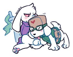 balls black_nose blush cave_story clothed clothing cum cum_in_mouth cum_inside duo fellatio fur hat jack_(cave_story) king_(cave_story) lagomorph male mammal mimiga oral paws penis plain_background red_eyes scar sex shugowah sitting sword video_games weapon white_background white_fur