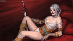 armband boots ciri cleavage corset female gloves nesoun panties scar sitting solo sword the_witcher the_witcher_3 weapon white_hair