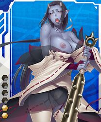 1girl black_hair blue_skin clothed club demon female female_only horns large_breasts lilith-soft long_hair monster monster_girl nipples oni open_mouth pointy_ears purple_skin solo solo_female sweat taimanin_asagi taimanin_asagi_battle_arena weapon wet yellow_eyes