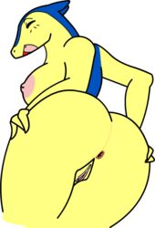 2014 anthro anus ass blue_skin breasts closed_eyes deadpliss female hand_on_butt nintendo nipples nude open_mouth pink_nipples plain_background pokémorph pokemon presenting presenting_anus presenting_hindquarters presenting_pussy pussy solo teeth tongue typhlosion video_games white_background yellow_skin