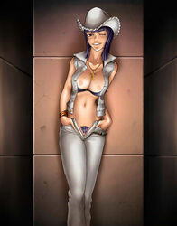 black_hair breasts nico_robin nipples one_piece pussy smile tagme