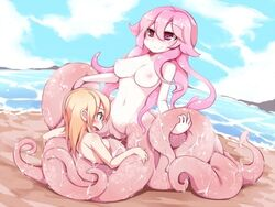 ambiguous_gender beach blonde_hair blue_eyes blush border breasts cephalopod come_hither female frfr hair heart invalid_tag long_hair looking_at_viewer marine monster monster_girl navel nipples nude octopus open_mouth pink_eyes pink_hair pussy pussy_juice red_eyes scylla sea seaside slime smile square_pupils tentacle tentacle_hair water wet
