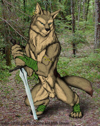 2002 anthro balls biceps black_nose brown_fur canine chest_tuft claws ear_piercing flaccid forest fur furry_only green_eyes male male_only mammal moonchild nature outside penis piercing pose sheath solo solo_male sword toe_claws tree tuft warrior weapon wolf