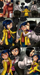 3girls aroused ass black_hair blue_hair blush comic coraline coraline_jones female food freckles heart holding_hands kissing large_ass licking mel_jones mother_and_daughter other_mother shadman short_hair sweater therealshadman tight_clothes
