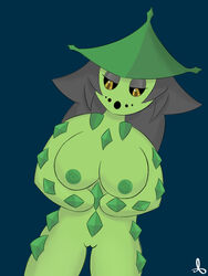 anthro big_breasts breasts cacturne chikyukaze_(artist) hair nintendo nipples nora pokemon pussy solo standing video_games yellow_eyes