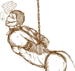 ball_gag bdsm berthold_huber black_and_white chains crying male_only shingeki_no_kyojin solo_male