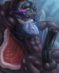 abs animal_genitalia anthro anthrofied armpits balls big_penis cape equine erection friendship_is_magic glenskunk hair horn horse horsecock king king_sombra_(mlp) long_hair male mammal manly muscles my_little_pony nude pecs penis raised_arm royalty sharp_teeth sitting smile solo spread_legs spreading teeth thick_penis unicorn