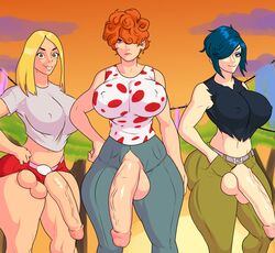 3girls balls big_breasts big_penis blonde_hair blue_hair dickgirl earrings ed_edd_n_eddy erect_nipples erection freckles futanari hand_on_hip huge_ass huge_balls huge_breasts huge_cock intersex jay-marvel jeans kanker_sisters large_breasts large_penis lee_kanker makeup marie_kanker may_kanker navel nipple partially_clothed penis penis_out penis_piercing red_hair shorts testicles thick_thighs tshirt veins veiny_penis voluptuous wide_hips