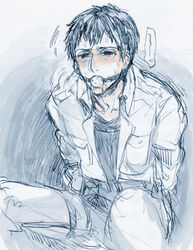 ball_gag bdsm berthold_huber black_hair male male_only shingeki_no_kyojin solo_male