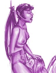 breasts delina_(neopets) fairy illusen_(neopets) neopets nipples not_furry nude open_mouth oral sketch source_request unknown_artist wings