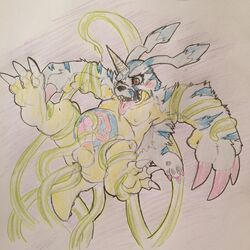 anal anal_sex balls bandai celestial chubby colored_pencil_(artwork) digimon double_penetration dripping drooling fully_bound gabumon horn humanoid_penis lifted markings moobs nipples open_mouth pelt penetration penis rough saliva spread_legs spreading stripes teeth tentaclejob tongue tongue_out traditional_media_(artwork)