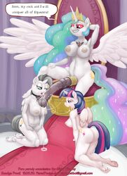 alicorn alicorn_amulet animal_genitalia anthro anthrofied barefoot breasts cock_ring cock_worship cum cum_string cutie_mark dialogue english_text equine fan_character female friendship_is_magic glowing glowing_eyes group group_sex hair half-closed_eyes horn horsecock hyper intersex kneeling long_hair mammal my_little_pony nipples nude open_mouth penis plantigrade precum princess_celestia_(mlp) pussy sex silver_wing sitting smudge_proof text threesome throne twilight_sparkle_(mlp) unicorn vein wings