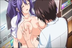 1boy animated animated areolae blue_eyes blush breast_grab breast_press breast_squeeze breast_sucking breasts brown_hair closed_eyes clothes deep_skin female huge_breasts lactation long_hair mankitsu_happening milk open_mouth purple_hair sex short_hair sitting