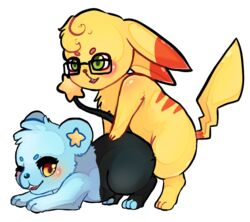 2015 all_fours blue_fur blush dance2forget doggy_style female from_behind fur luxie(shinx) mammal nintendo nude open_mouth penetration pikachu pokemon rex(pikachu) sex shinx star video_games yellow_eyes