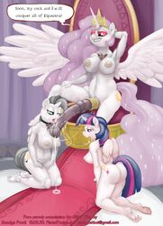 alicorn alicorn_amulet animal_genitalia anthro anthrofied barefoot breasts cock_ring cock_worship cum cum_string cutie_mark dialogue english_text equine fan_character female friendship_is_magic glowing glowing_eyes group group_sex hair half-closed_eyes horn horsecock hyper intersex kneeling long_hair mammal my_little_pony nipples nude open_mouth penis plantigrade precum princess_celestia_(mlp) princess_molestia pussy sex silver_wing sitting smudge_proof text threesome throne twilight_sparkle_(mlp) unicorn vein wings