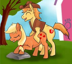 animated applejack_(mlp) braeburn_(mlp) friendship_is_magic my_little_pony penis sex tungsten_booger