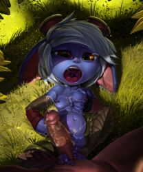 anthro barefoot big_ears breasts claws erection female first_person_view footjob hair history-eraser-button human human_on_anthro interspecies league_of_legends looking_up lying male male/female mammal navel nipples nude on_back open_mouth penis sharp_claws sharp_teeth teeth toe_claws tristana vein veiny_penis