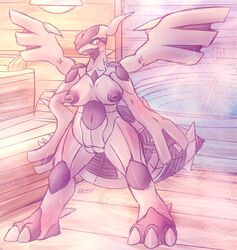 anthro anthrofied areola barefoot big_nipples blush breasts claws dragon female hi_res legendary_pokémon looking_at_viewer navel nintendo nipples nude patohoro pokemon pussy smile solo standing sweat toe_claws video_games wings zekrom